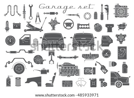 Garage. Vector car parts set outline details. Isolated