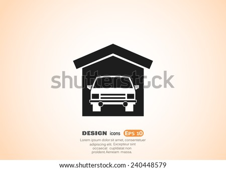 Garaged car, web icon. vector design - stock vector