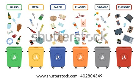 Garbage cans vector flat illustrations. Sorting garbage. Ecology and recycle concept. Trash cans isolated on white background  - stock vector