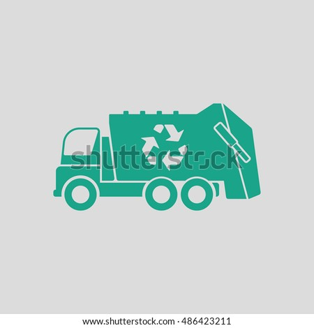 Garbage car recycle icon. Gray background with green. Vector illustration.