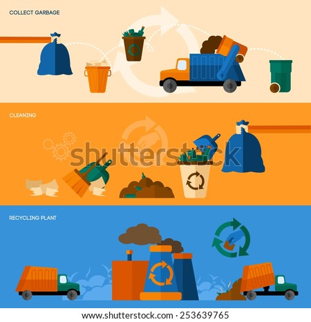 Garbage collect cleaning and recycling plant horizontal banner set isolated vector illustration - stock vector