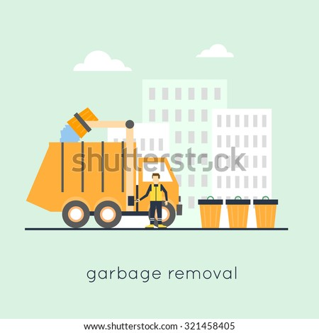 Garbage collection in the city. Flat design. - stock vector
