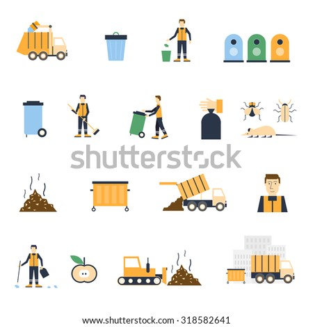 Garbage collection, trashcan, waste separation, garbage removal, the janitor set icons. Flat design vector illustration. - stock vector