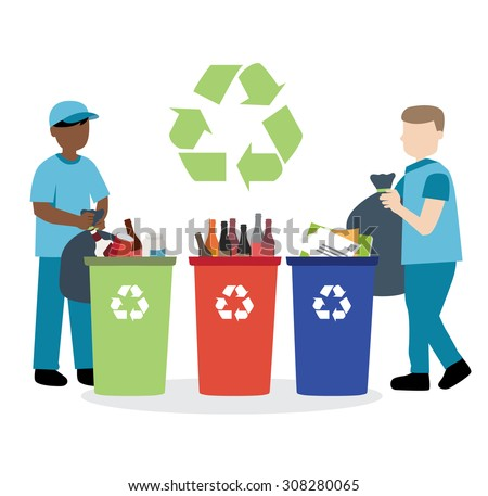 garbage collector recycling waste - stock vector