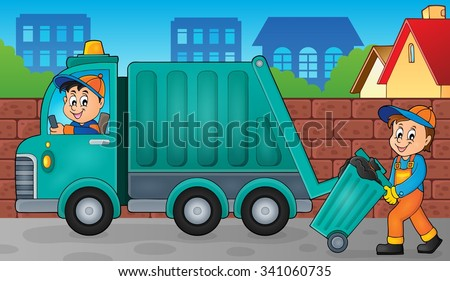 Garbage collector theme image 3 - eps10 vector illustration. - stock vector