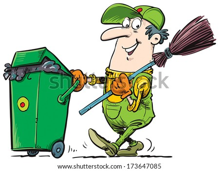 Garbage collector with a bucket and broom.
