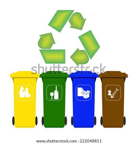 Garbage containers for recycling - stock vector
