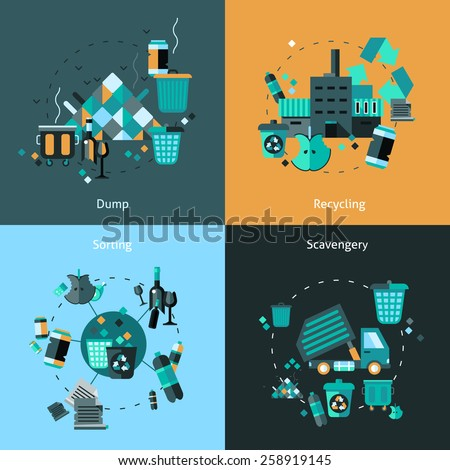 Garbage design concept set with dump recycling sorting scavengery flat icons isolated vector illustration - stock vector