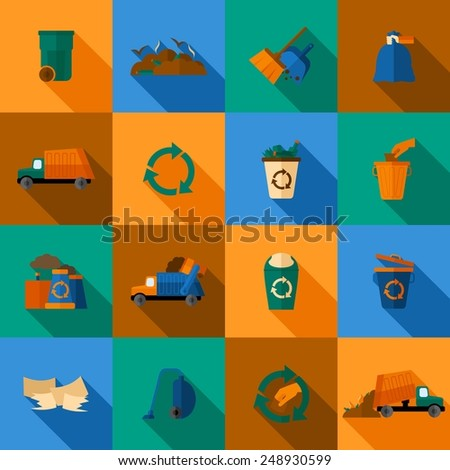Garbage flat icons set with trash dump waste basket earth pollution isolated vector illustration - stock vector