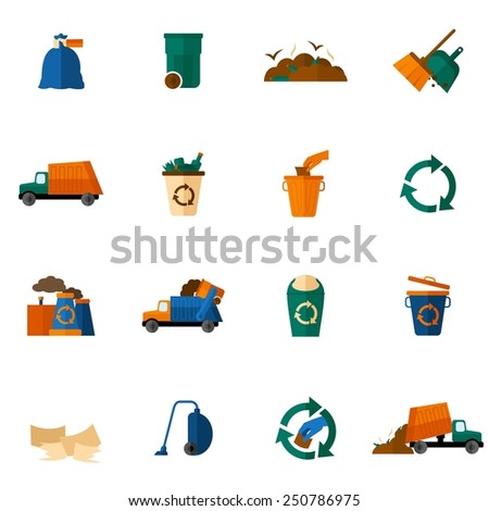 Garbage icons flat set with dumpster trash bin cleaning bulldozer isolated vector illustration - stock vector