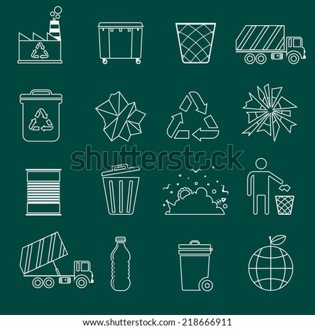 Garbage recycling icons outline set of landfill truck bottle isolated vector illustration - stock vector