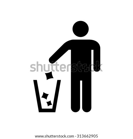 Garbage Recycling Sign , Man icon . Vector illustration - stock vector