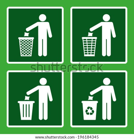 Garbage Recycling Symbol Green - stock vector