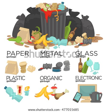 Garbage sorting: food waste, glass, metal and paper, plastic electronic, organic.  Pile of Smelling Decaying Garbage Left Lying Around. Vector Illustration.