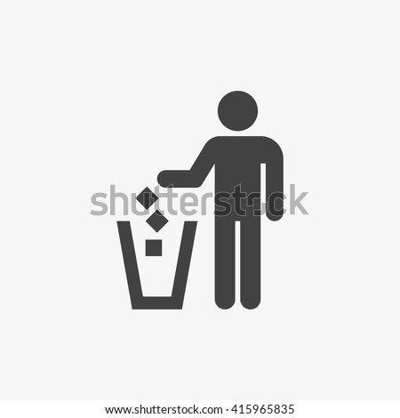 Garbage symbol in trendy flat style isolated on grey background, for your web site design, app, logo, UI. Vector illustration, EPS10. - stock vector
