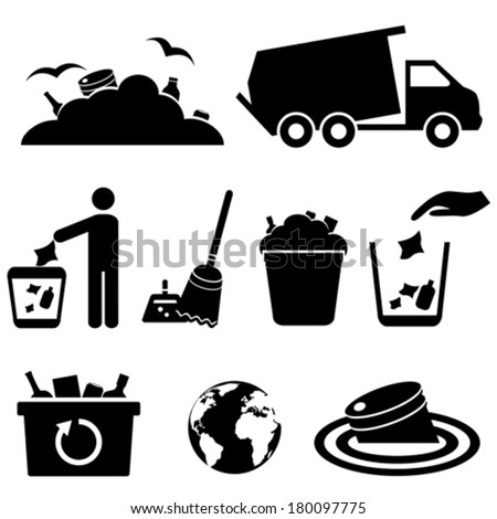 Garbage, trash and waste icon set - stock vector