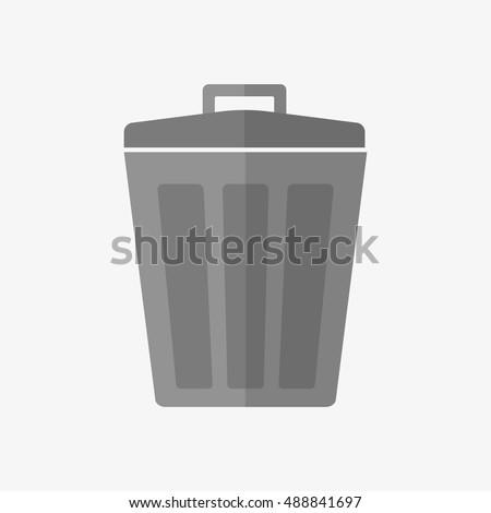 garbage trash bin icon isolated vector flat stylewaste paper basket