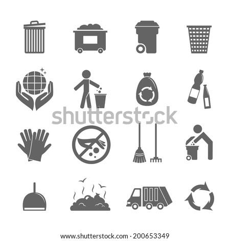 Garbage trash recycling environmental hygienic symbols black icons set isolated vector illustration - stock vector