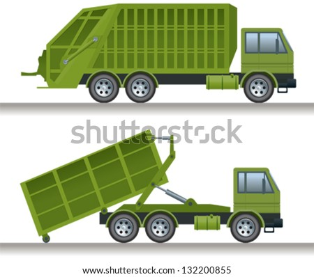 Garbage truck and waste disposal truck - stock vector