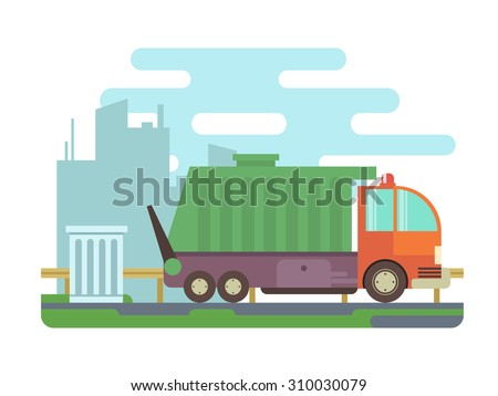 Garbage truck, trash can on city street with buildings, blue sky and clouds in background. - stock vector