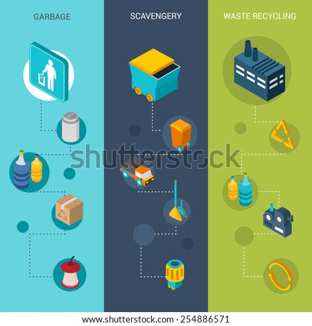 Garbage vertical banners set with scavengery and waste recycling isometric elements isolated vector illustration - stock vector