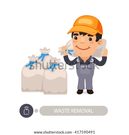 Garbage worker carrying construction rubbish bag. Isolated on white background. Clipping paths included. - stock vector