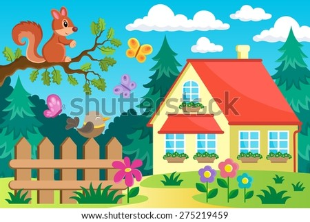 Garden and house theme background 2 - eps10 vector illustration. - stock vector
