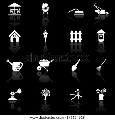 Garden and yard icon set  - stock vector