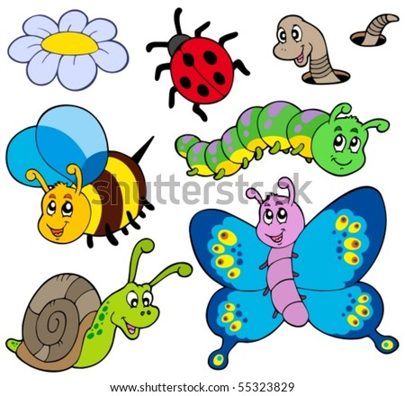 Garden animals collection - vector illustration. - stock vector
