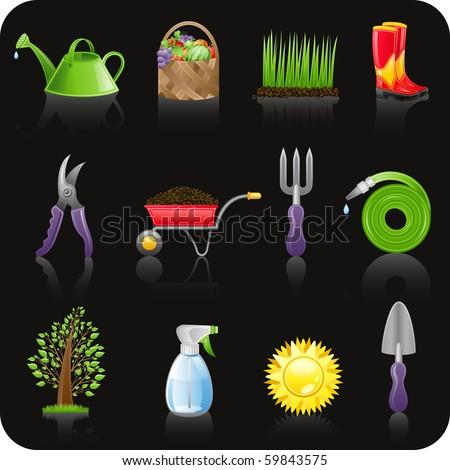 Garden black icon set - stock vector