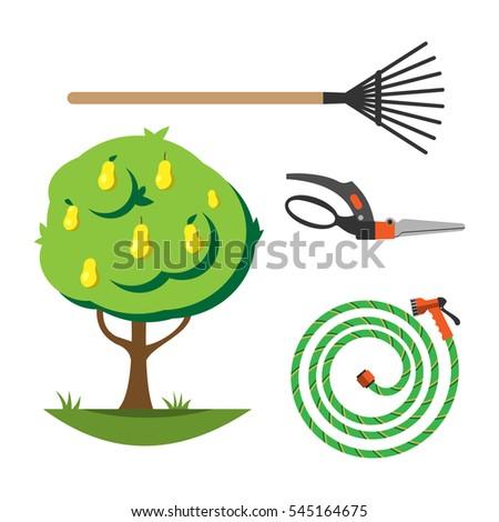 Printable educational bingo game preschool kids stock for Gardening tools preschool