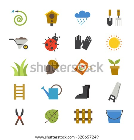 Garden Flat Icons color - stock vector