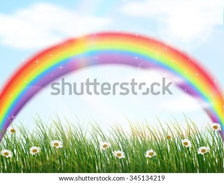 Garden flower with rainbow background. vector - stock vector