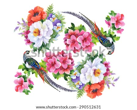 Garden flowers and pheasant birds watercolor pattern on white background vector illustration - stock vector