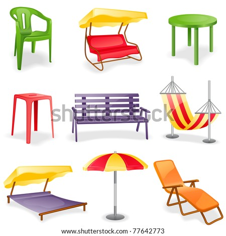 Garden furniture icon set.  Isolated on a white background. - stock vector
