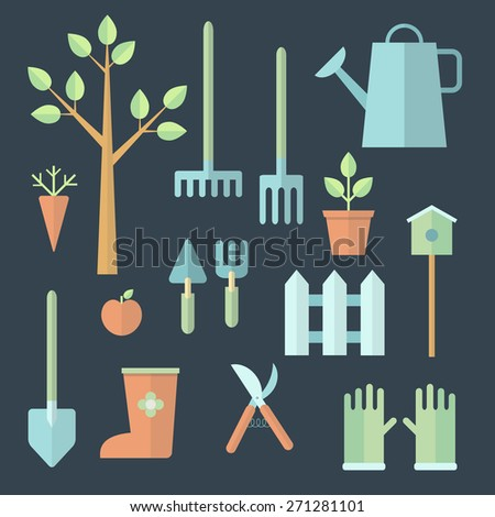 Garden icons in flat style. - stock vector
