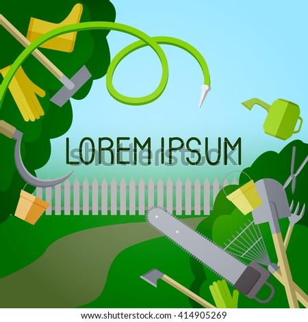 Garden landscape poster with gardening tools - stock vector