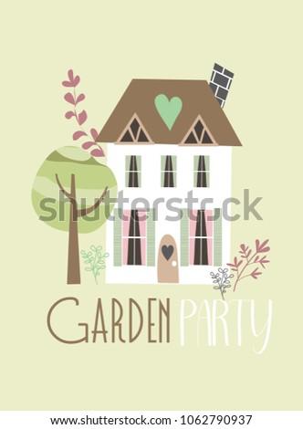 Garden party invitation card stock vector 1062790937 shutterstock garden party invitation card stopboris Choice Image