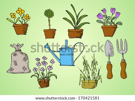 garden plants and tools - stock vector