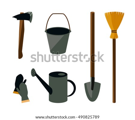 Garden related tools and accessories with plants cartoon pictogram set  isolated vector illustration Gardening isolated. Vector Set Garden Tools Hoe Rake Stock Vector 515659807   Shutterstock