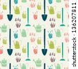 Garden seamless pattern with watering can, spade and spring flowers. Vector background. - stock vector