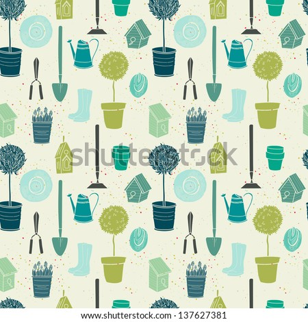 Garden seamless pattern with watering can, spade, rubber boots, olive tree, birdhouse, hat, tree in a pot and spring flowers. Vector background. - stock vector