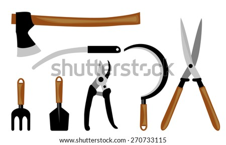 garden tool set - stock vector