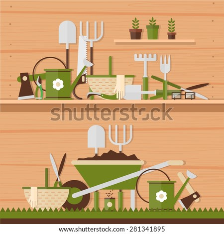 Garden tools. Environmental activities. Gardening icons set. Modern flat style. Vector illustrations. 2 banners. - stock vector