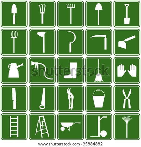 garden tools icons - stock vector