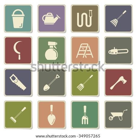 Garden tools label icons for web - stock vector
