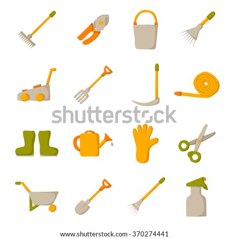 Garden tools objects