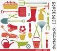 Garden tools set - stock vector