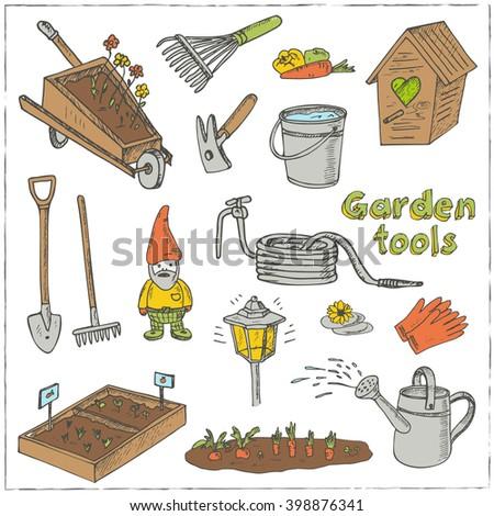 Garden tools sketches various equipment facilities stock for Garden equipment deals