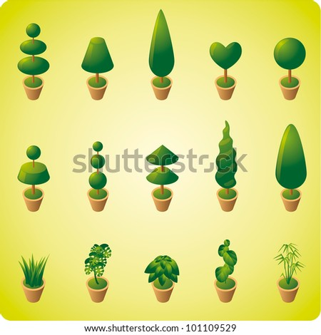 Garden vegetation. Set of ten trees and five ornamental plants